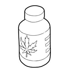 Medical marijua bottle icon outline style vector