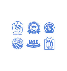 milk products logos set fresh dairy natural food vector image