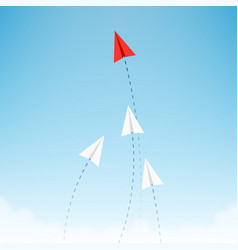 Minimalist stile red paper airplane show direction vector