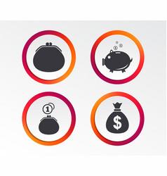 Money bag icons wallet and piggy bank symbols vector