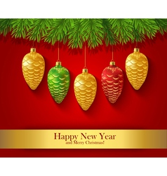 New Year greeting card with Christmas ornaments vector image