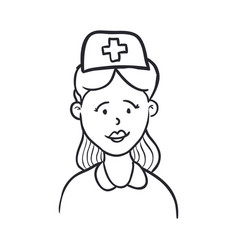 nurse draw cartoon vector image