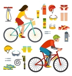 People on bicycles riders man and woman lifestyle vector image