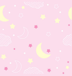Pink pattern night pattern moon and stars vector