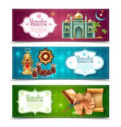 Ramadan kareem 3 horizontal banners set vector