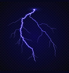 realistic lightning thunder bold strike vector image