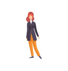 Redhead woman wearing vintage clothing retro vector