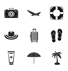 Relax on beach icons set simple style vector