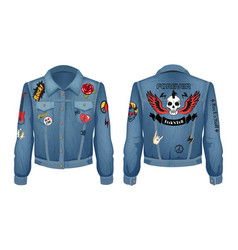 rock and roll forever prints set on denim wear vector image