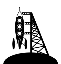 rocket and launching pad vector image