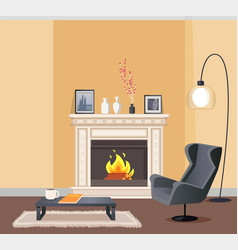 room in corporeal color with fireplace vector image