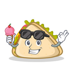 Sandwich character cartoon style with ice cream vector