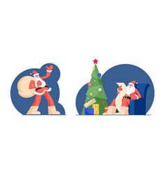 Santa claus with huge bag full presents on run vector