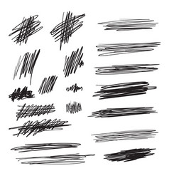 Scribble brush strokes set logo design vector