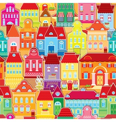 Seamless pattern with colorful houses vector image