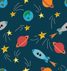 Seamless pattern with rockets vector image