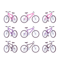 set of sport bicycles in pink purple black vector image