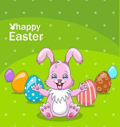 Smiling rabbit cartoon girl with eggs beautiful vector