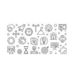startup outline horizontal vector image