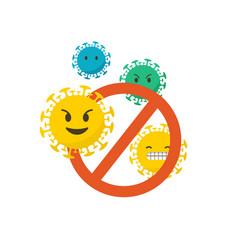 Stop coronavirus conceptual emoji icons set vector