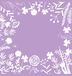 stylish floral frame white on purple card vector image