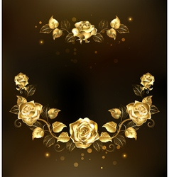 Symmetrical garland of gold roses vector
