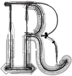 Technical typography Letter R vector image