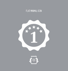 The number one - best rating symbol - flat vector