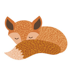 The sleeping fox cartoon fox on white background vector