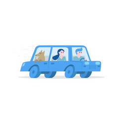 tourists travelling by car vector image