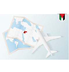 Travel to jordan top view airplane with map vector