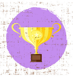 Trophy cup flat icon with star with grunge vector