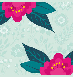 two flowers branches leaves botanical floral vector image