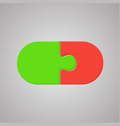 Two piece puzzle jigsaw pill tablet puzzle vector