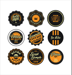 Vintage labels black and yellow set 2 vector