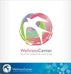 wellness logo spa symbol healthy style bird vector image
