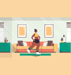 woman doing exercises at home with resistance band vector image