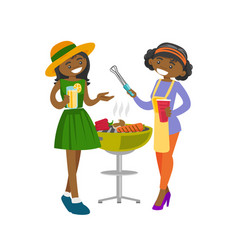 young african friends having fun at barbecue party vector image