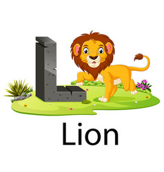 Zoo animal alphabet l for lion vector