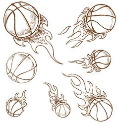 basket ball set vector image vector image