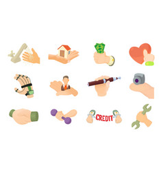 object in hand icon set cartoon style vector image