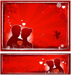 valentines day lovers banners vector image
