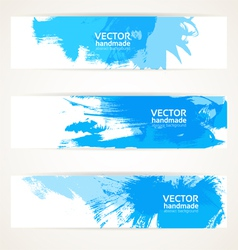 Abstract blue handdrawing banner set vector image