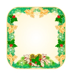 Button square Christmas Spruce with poinsettia vector image vector image