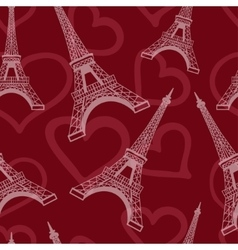 Seamless eiffel tower background pattern vector image vector image