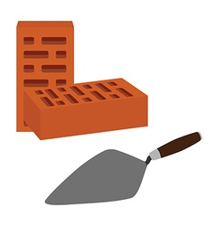 Brick and spatula vector image vector image