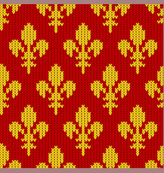 knitted golden royal lilies on red vector image vector image