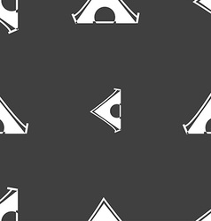 The tent icon sign Seamless pattern on a gray vector image vector image