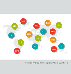 abstract world map with colourful numbers vector image