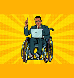 african businessman in wheelchair with laptop vector image